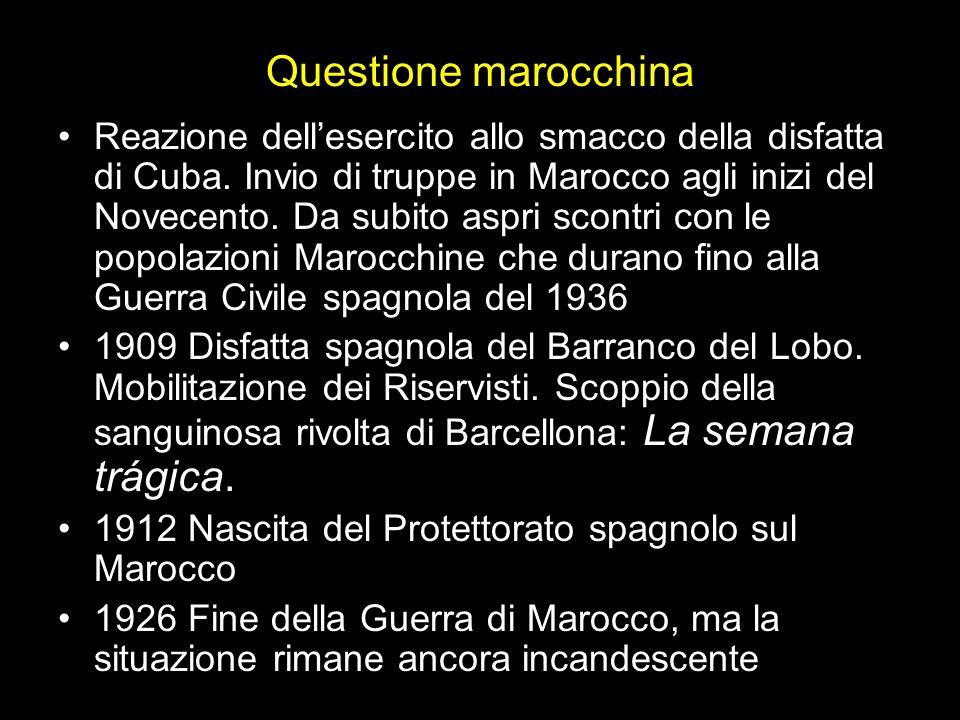 Questione marocchina Reazione dellesercito allo smacco della disfatta di Cuba.