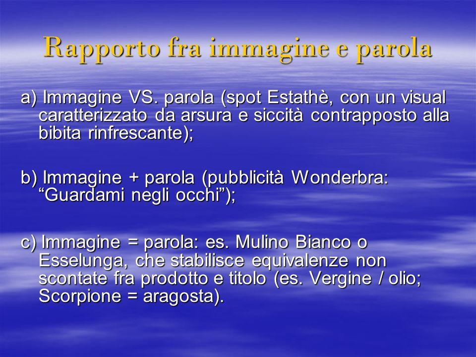 Rapporto fra immagine e parola a) Immagine VS. parola (spot Estathè, con un visual caratterizzato da arsura e siccità contrapposto alla bibita rinfres