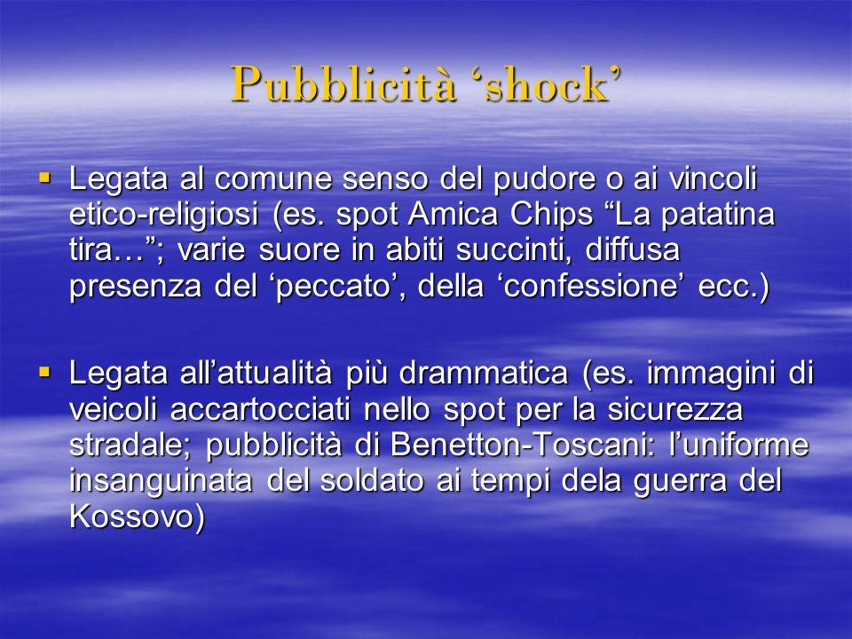 Pubblicità shock Legata al comune senso del pudore o ai vincoli etico-religiosi (es. spot Amica Chips La patatina tira…; varie suore in abiti succinti