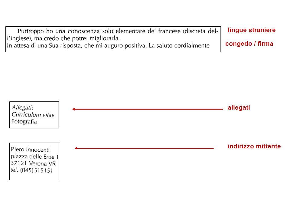 lingue straniere congedo / firma allegati indirizzo mittente