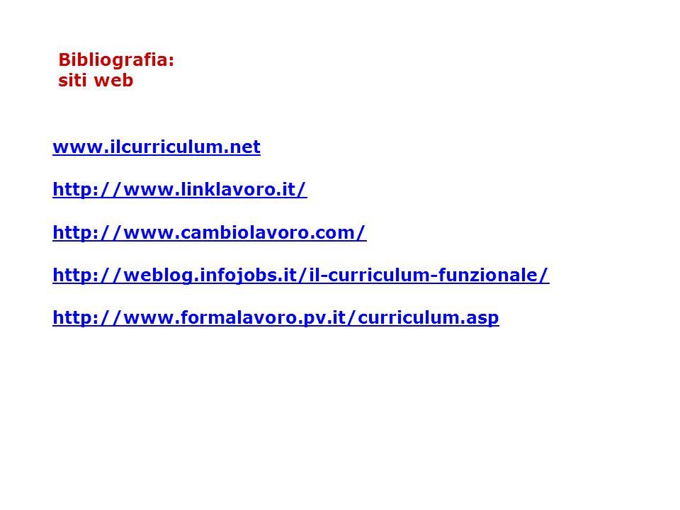 Bibliografia: siti web www.ilcurriculum.net http://www.linklavoro.it/ http://www.cambiolavoro.com/ http://weblog.infojobs.it/il-curriculum-funzionale/ http://www.formalavoro.pv.it/curriculum.asp