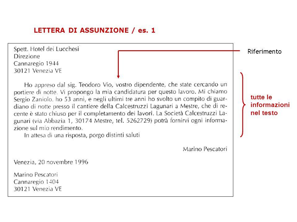 tutte le informazioni nel testo LETTERA DI ASSUNZIONE / es. 1 Riferimento