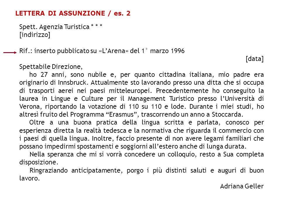 LETTERA DI ASSUNZIONE / es.2 Spett.