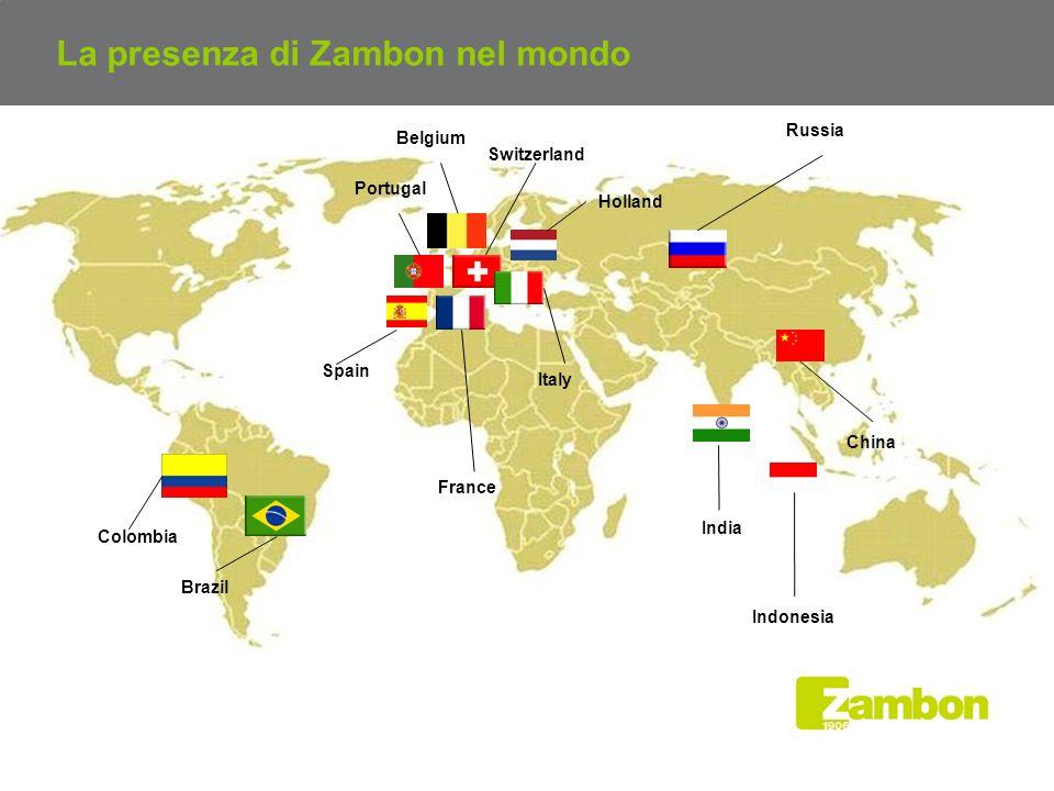 La presenza di Zambon nel mondo Brazil France India Russia Spain China Indonesia Switzerland Colombia Italy Portugal Holland Belgium