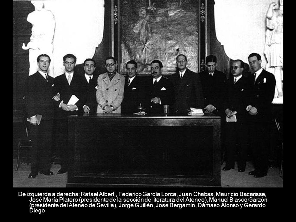 De izquierda a derecha: Rafael Alberti, Federico García Lorca, Juan Chabas, Mauricio Bacarisse, José María Platero (presidente de la sección de litera