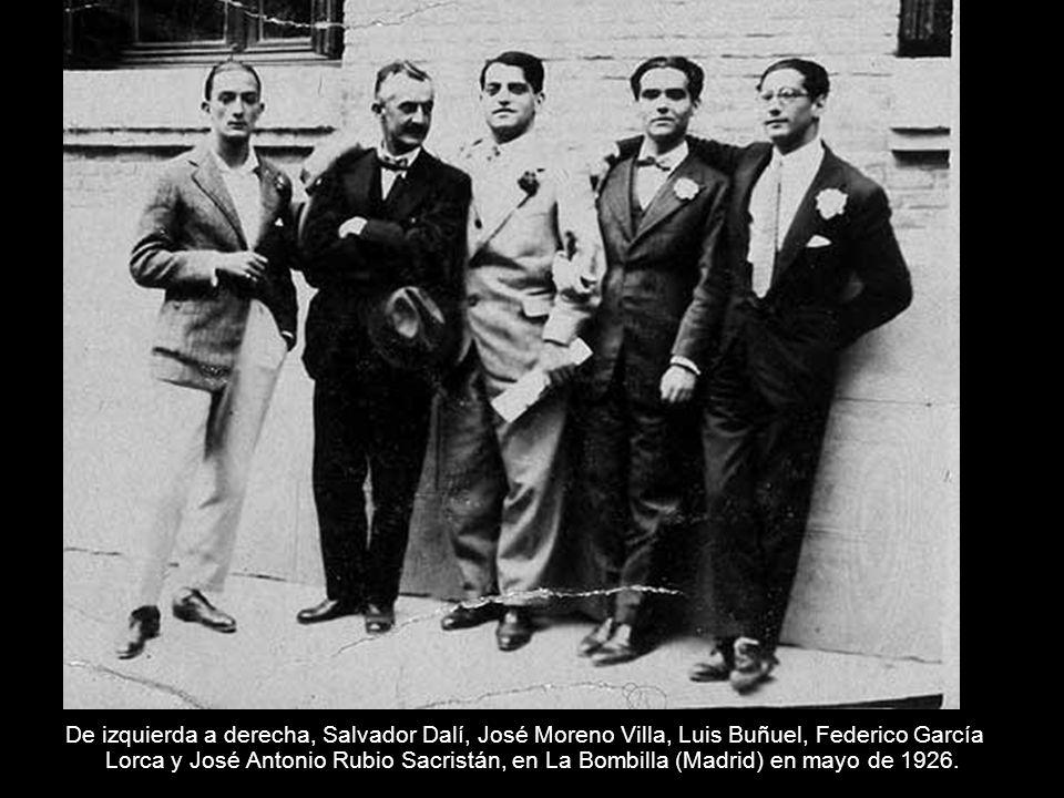 De izquierda a derecha, Salvador Dalí, José Moreno Villa, Luis Buñuel, Federico García Lorca y José Antonio Rubio Sacristán, en La Bombilla (Madrid) e