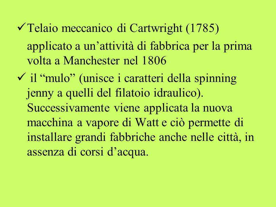 Telaio meccanico di Cartwright (1785) applicato a unattività di fabbrica per la prima volta a Manchester nel 1806 il mulo (unisce i caratteri della sp