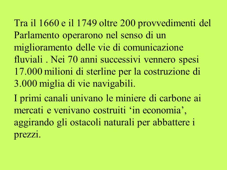 Tra il 1660 e il 1749 oltre 200 provvedimenti del Parlamento operarono nel senso di un miglioramento delle vie di comunicazione fluviali. Nei 70 anni