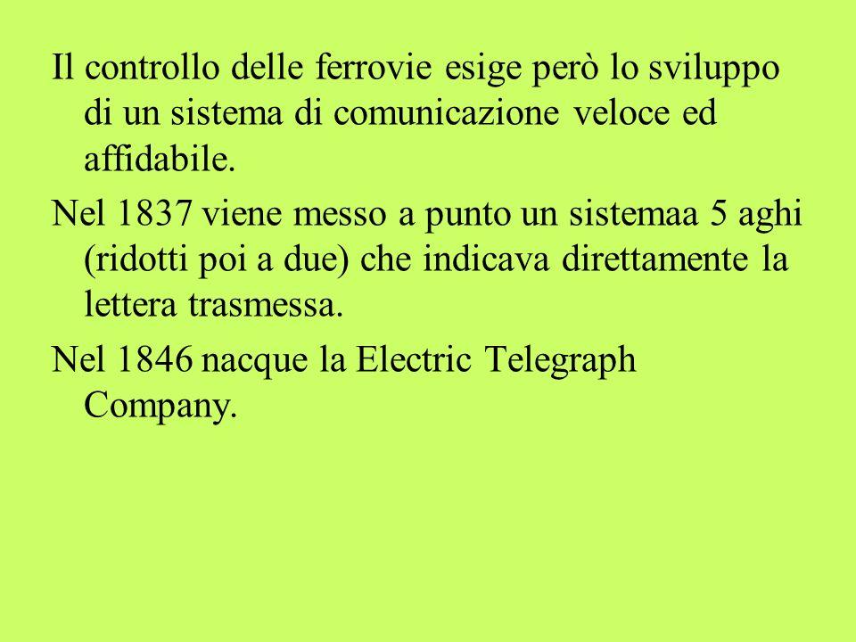 Il controllo delle ferrovie esige però lo sviluppo di un sistema di comunicazione veloce ed affidabile. Nel 1837 viene messo a punto un sistemaa 5 agh
