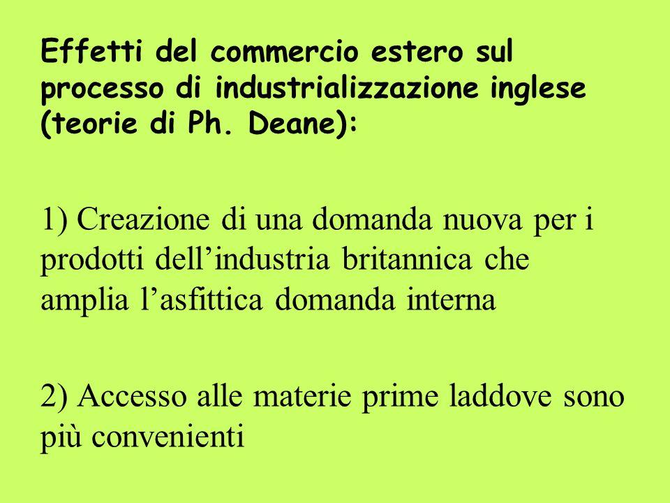 Effetti del commercio estero sul processo di industrializzazione inglese (teorie di Ph. Deane): 1) Creazione di una domanda nuova per i prodotti delli
