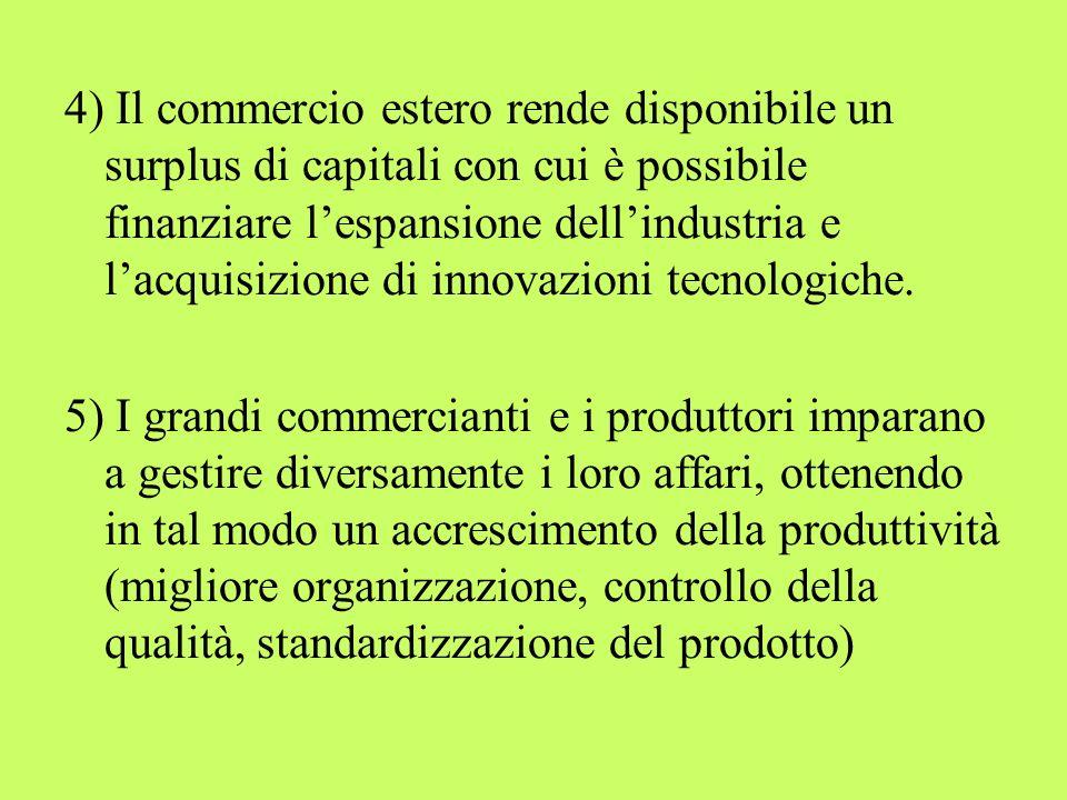 4) Il commercio estero rende disponibile un surplus di capitali con cui è possibile finanziare lespansione dellindustria e lacquisizione di innovazion