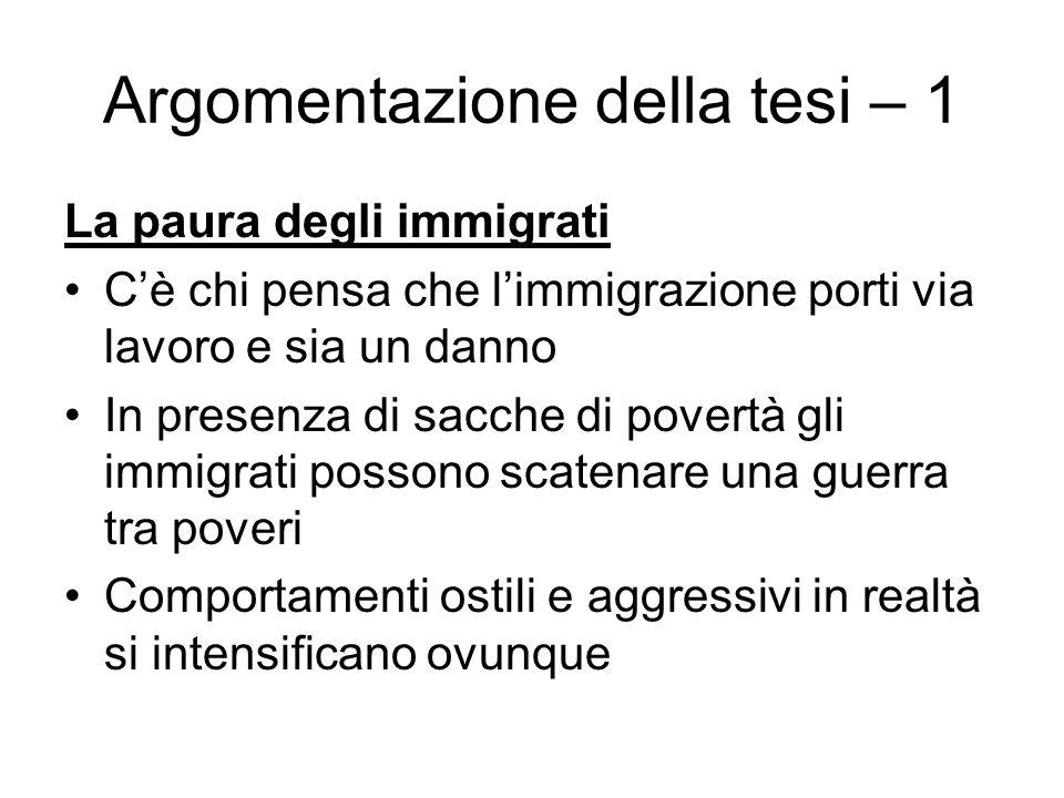 Argomentazione della tesi – 1 La paura degli immigrati Cè chi pensa che limmigrazione porti via lavoro e sia un danno In presenza di sacche di povertà