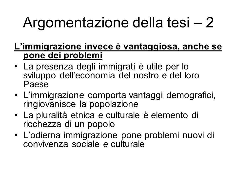 Argomentazione della tesi – 2 Limmigrazione invece è vantaggiosa, anche se pone dei problemi La presenza degli immigrati è utile per lo sviluppo delle