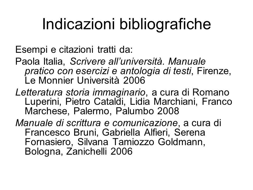 Indicazioni bibliografiche Esempi e citazioni tratti da: Paola Italia, Scrivere alluniversità. Manuale pratico con esercizi e antologia di testi, Fire