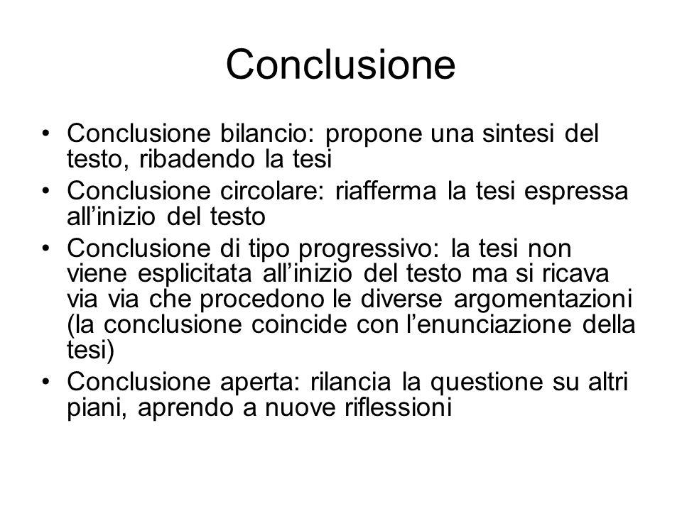 Conclusione Conclusione bilancio: propone una sintesi del testo, ribadendo la tesi Conclusione circolare: riafferma la tesi espressa allinizio del tes