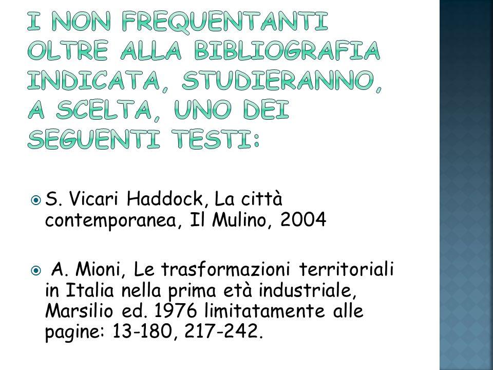 S. Vicari Haddock, La città contemporanea, Il Mulino, 2004 A. Mioni, Le trasformazioni territoriali in Italia nella prima età industriale, Marsilio ed