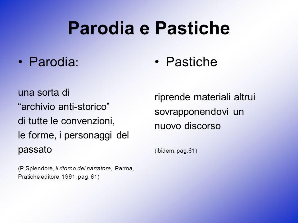 Parodia e Pastiche Parodia : una sorta di archivio anti-storico di tutte le convenzioni, le forme, i personaggi del passato (P.Splendore, Il ritorno d