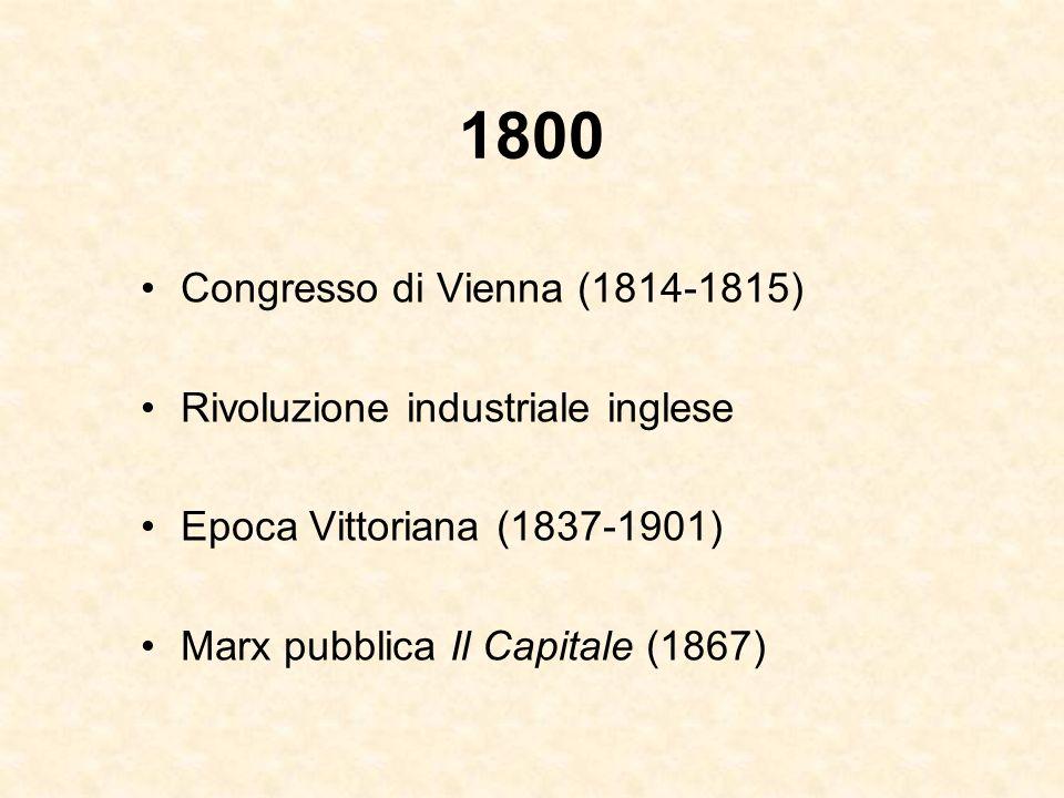 1800 Congresso di Vienna (1814-1815) Rivoluzione industriale inglese Epoca Vittoriana (1837-1901) Marx pubblica Il Capitale (1867)