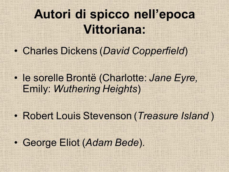 Autori di spicco nellepoca Vittoriana: Charles Dickens (David Copperfield) le sorelle Brontë (Charlotte: Jane Eyre, Emily: Wuthering Heights) Robert L