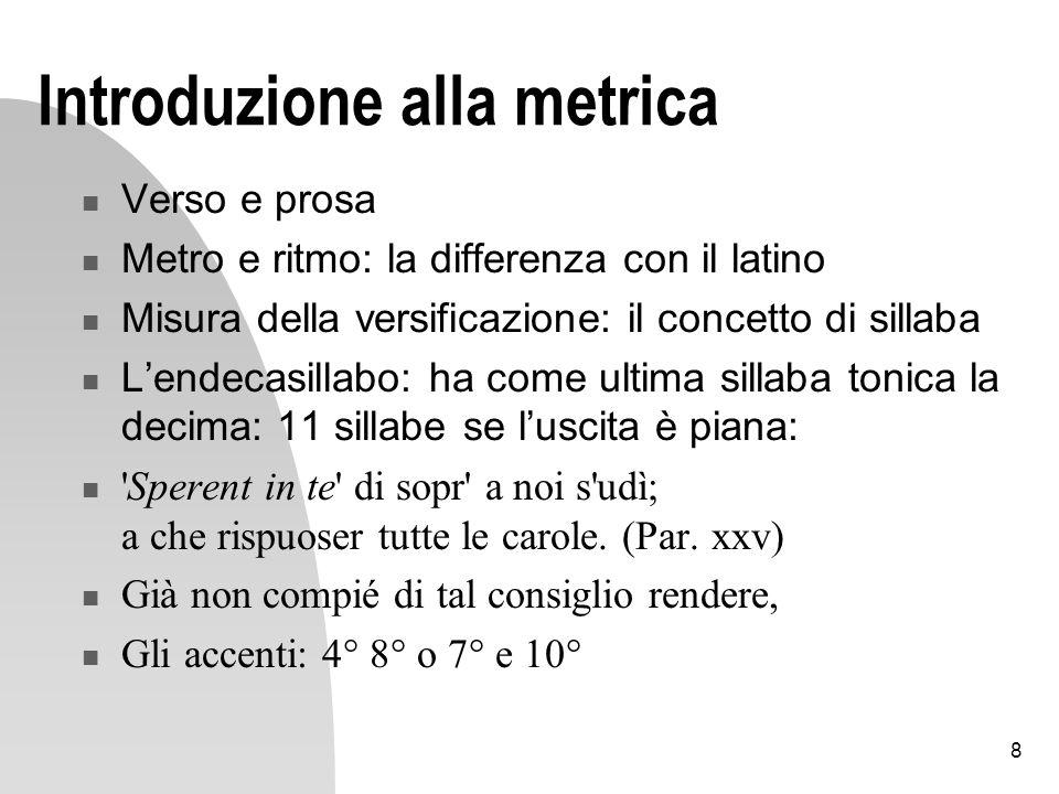 8 Introduzione alla metrica Verso e prosa Metro e ritmo: la differenza con il latino Misura della versificazione: il concetto di sillaba Lendecasillab