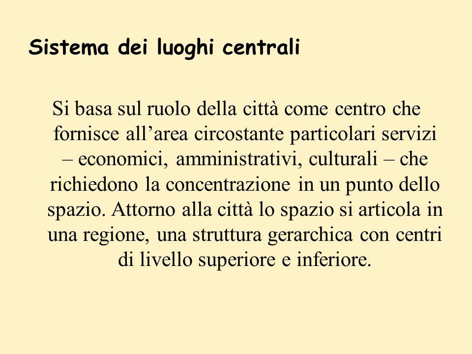 Sistema dei luoghi centrali Si basa sul ruolo della città come centro che fornisce allarea circostante particolari servizi – economici, amministrativi, culturali – che richiedono la concentrazione in un punto dello spazio.