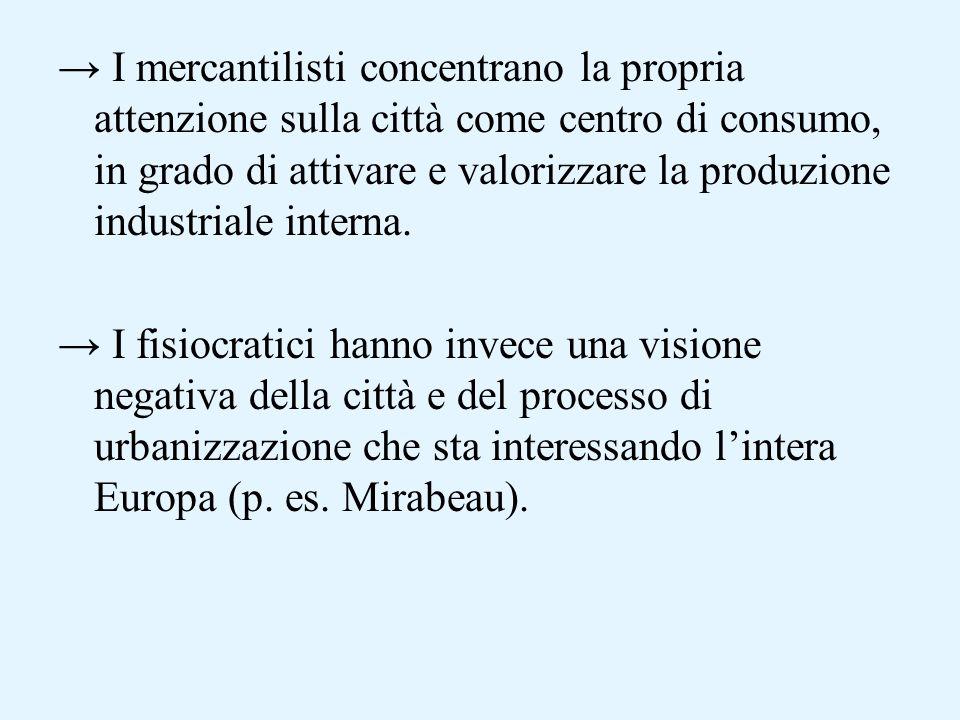 I mercantilisti concentrano la propria attenzione sulla città come centro di consumo, in grado di attivare e valorizzare la produzione industriale interna.