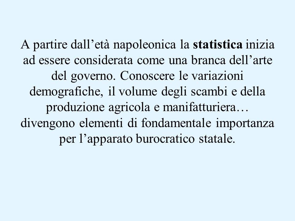 A partire dalletà napoleonica la statistica inizia ad essere considerata come una branca dellarte del governo.