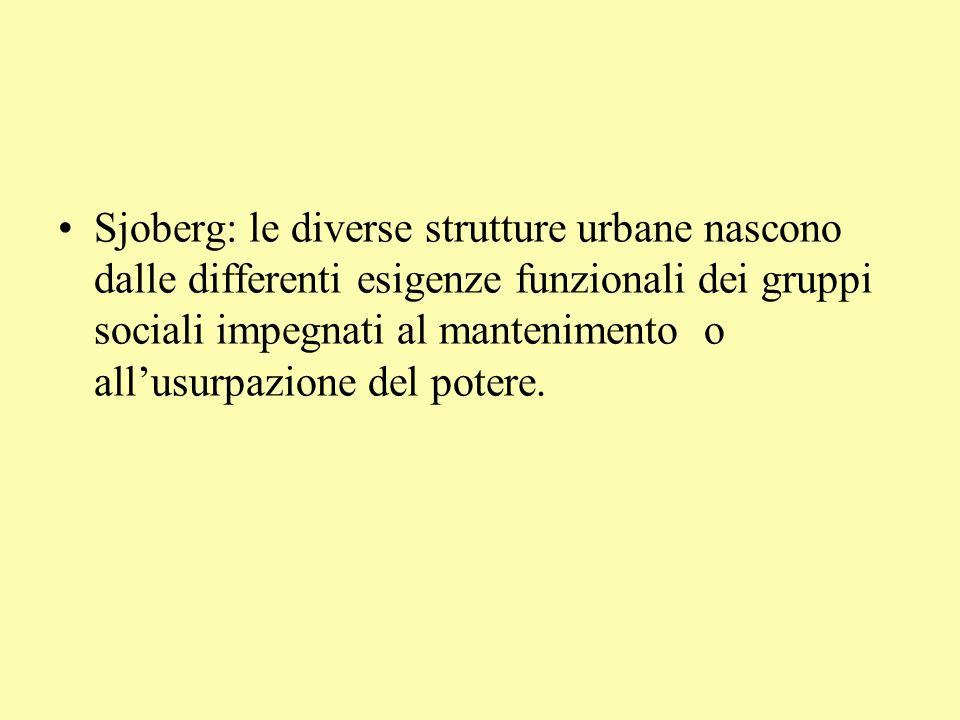Sjoberg: le diverse strutture urbane nascono dalle differenti esigenze funzionali dei gruppi sociali impegnati al mantenimento o allusurpazione del potere.