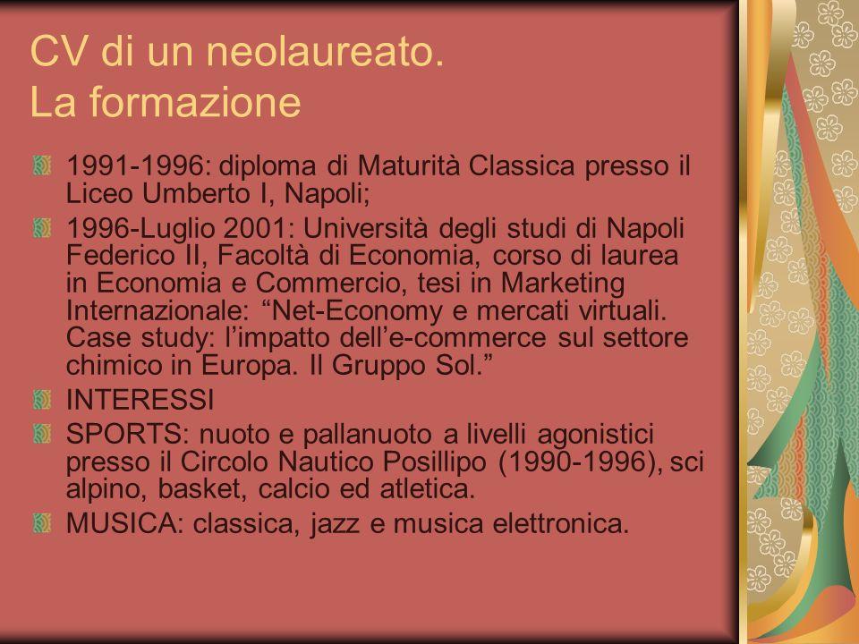 CV di un neolaureato. La formazione 1991-1996: diploma di Maturità Classica presso il Liceo Umberto I, Napoli; 1996-Luglio 2001: Università degli stud