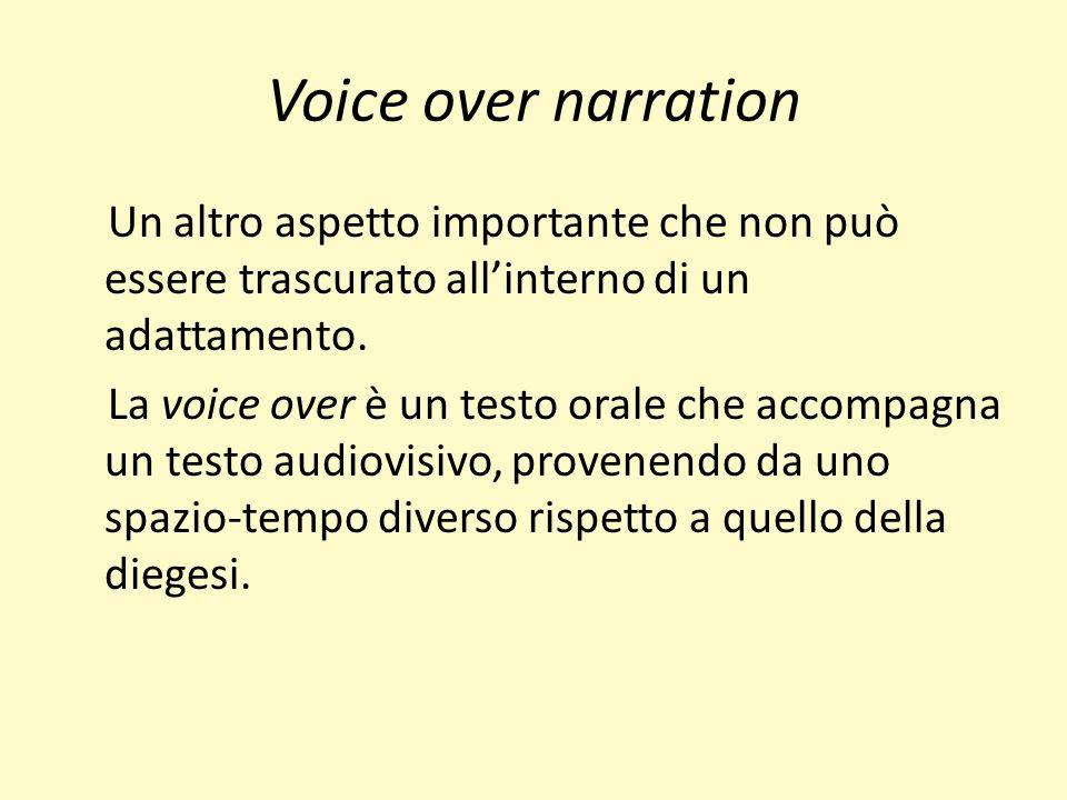 Voice over narration Un altro aspetto importante che non può essere trascurato allinterno di un adattamento.