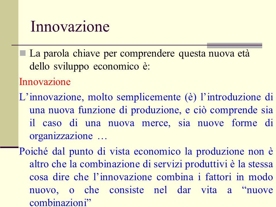 Innovazione La parola chiave per comprendere questa nuova età dello sviluppo economico è: Innovazione Linnovazione, molto semplicemente (è) lintroduzi