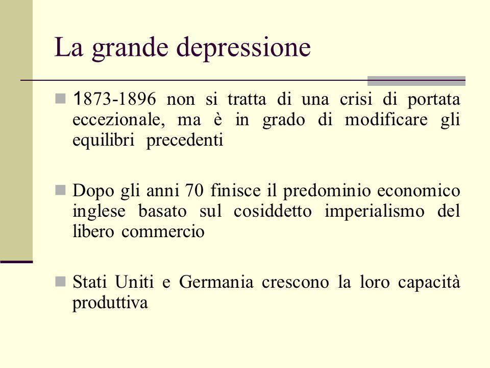 La grande depressione 1 873-1896 non si tratta di una crisi di portata eccezionale, ma è in grado di modificare gli equilibri precedenti Dopo gli anni
