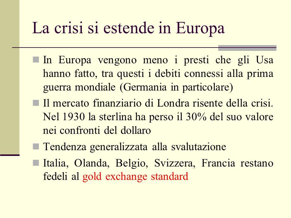 La crisi si estende in Europa In Europa vengono meno i presti che gli Usa hanno fatto, tra questi i debiti connessi alla prima guerra mondiale (German