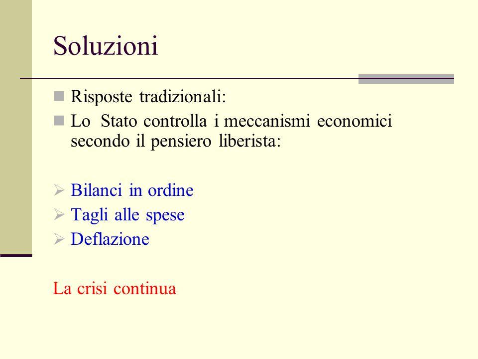 Soluzioni Risposte tradizionali: Lo Stato controlla i meccanismi economici secondo il pensiero liberista: Bilanci in ordine Tagli alle spese Deflazion