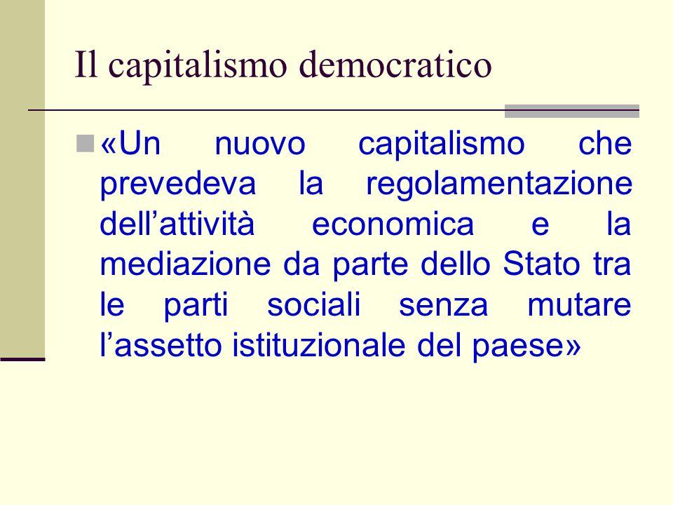 Il capitalismo democratico «Un nuovo capitalismo che prevedeva la regolamentazione dellattività economica e la mediazione da parte dello Stato tra le