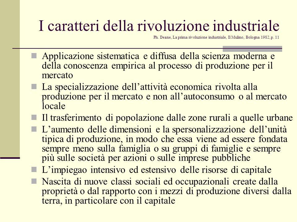 I caratteri della rivoluzione industriale Ph. Deane, La prima rivoluzione industriale, Il Mulino, Bologna 1982, p. 11 Applicazione sistematica e diffu
