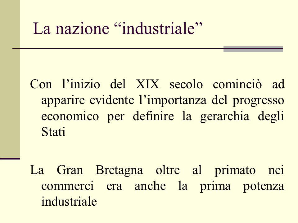 La nazione industriale Con linizio del XIX secolo cominciò ad apparire evidente limportanza del progresso economico per definire la gerarchia degli St