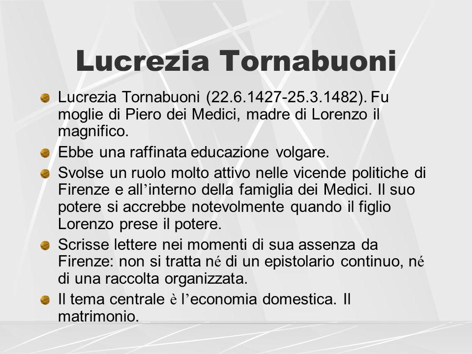 Lucrezia Tornabuoni Lucrezia Tornabuoni (22.6.1427-25.3.1482). Fu moglie di Piero dei Medici, madre di Lorenzo il magnifico. Ebbe una raffinata educaz