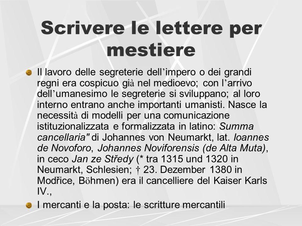 Scrivere le lettere per mestiere Di alcuni scrittori di lettere per mestiere abbiamo anche la corrispondenza privata I cancellieri fiorentini: Salutati, Bruni, Marsuppini, Bracciolini,