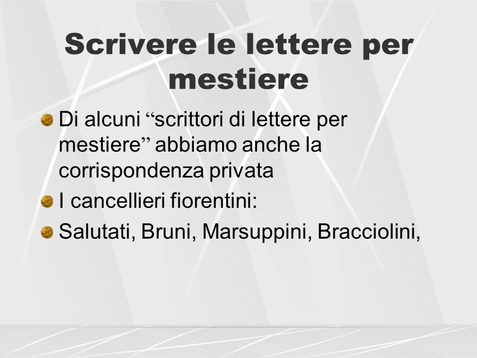 Scrivere le lettere per mestiere Di alcuni scrittori di lettere per mestiere abbiamo anche la corrispondenza privata I cancellieri fiorentini: Salutat