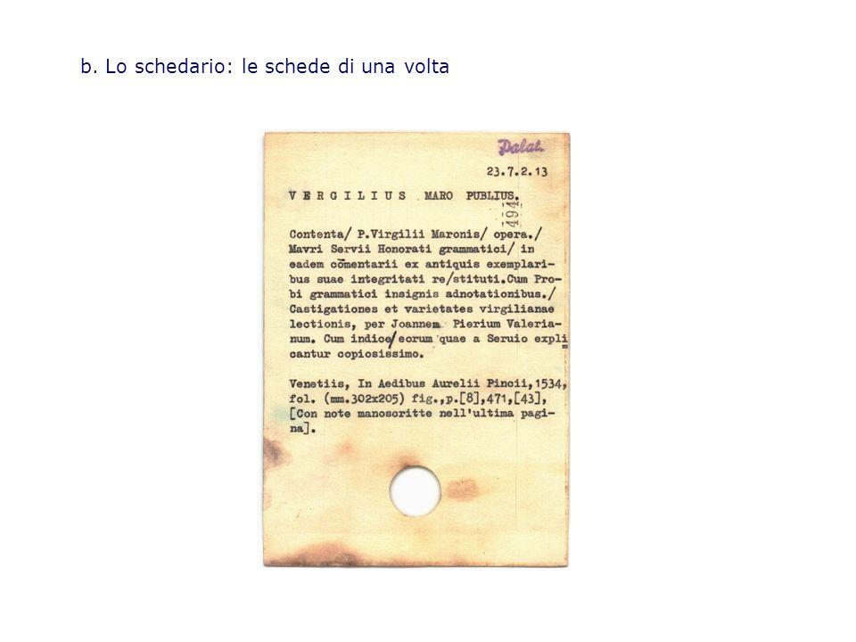 b. Lo schedario: le schede di una volta