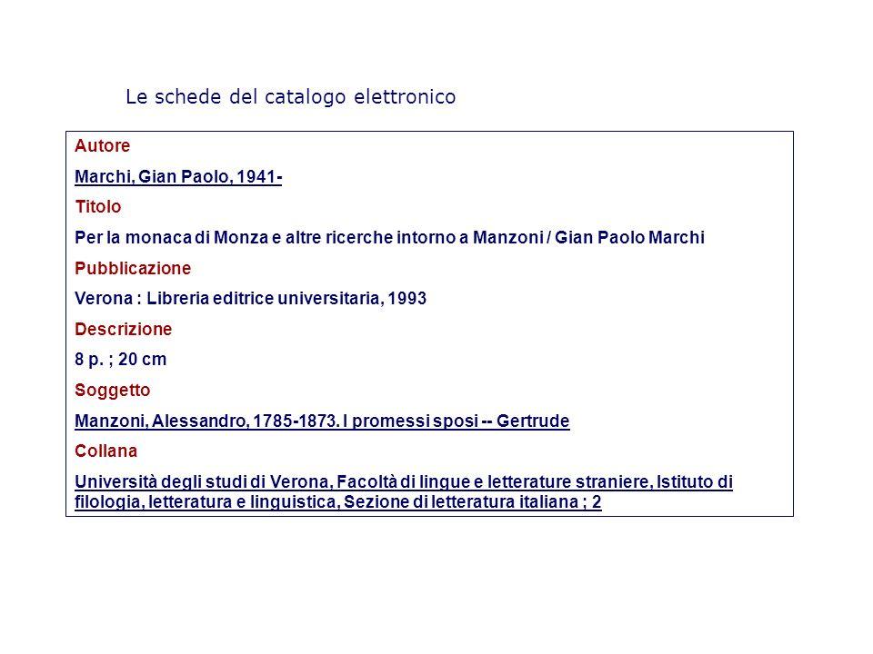 Le schede del catalogo elettronico Autore Marchi, Gian Paolo, 1941- Titolo Per la monaca di Monza e altre ricerche intorno a Manzoni / Gian Paolo Marc