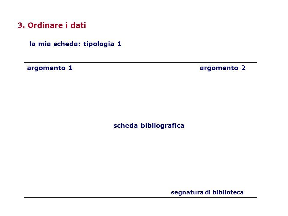 3. Ordinare i dati argomento 1argomento 2 scheda bibliografica segnatura di biblioteca la mia scheda: tipologia 1