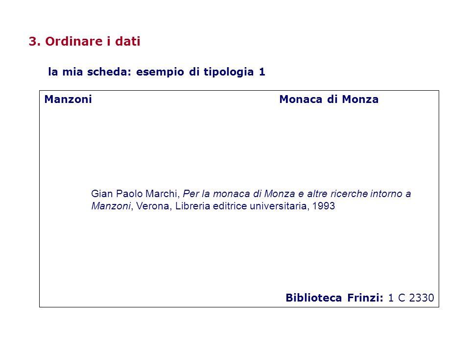 3. Ordinare i dati ManzoniMonaca di Monza Gian Paolo Marchi, Per la monaca di Monza e altre ricerche intorno a Manzoni, Verona, Libreria editrice univ