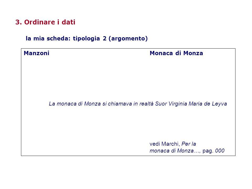 3. Ordinare i dati ManzoniMonaca di Monza La monaca di Monza si chiamava in realtà Suor Virginia Maria de Leyva vedi Marchi, Per la monaca di Monza…,