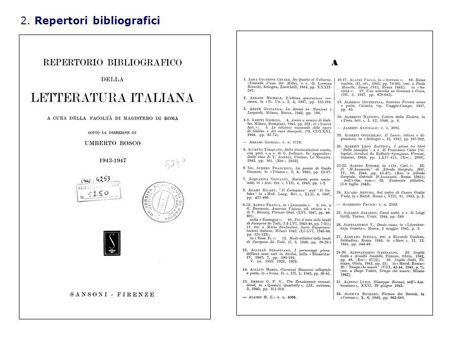 2. Repertori bibliografici