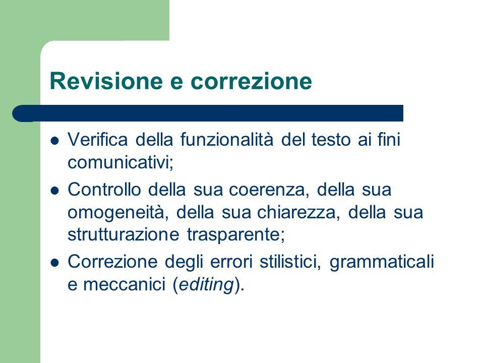 Revisione e correzione Verifica della funzionalità del testo ai fini comunicativi; Controllo della sua coerenza, della sua omogeneità, della sua chiarezza, della sua strutturazione trasparente; Correzione degli errori stilistici, grammaticali e meccanici (editing).