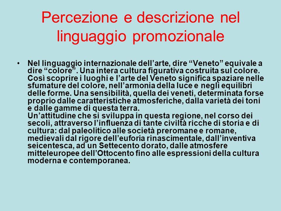 Percezione e descrizione nel linguaggio promozionale Nel linguaggio internazionale dellarte, dire Veneto equivale a dire colore.