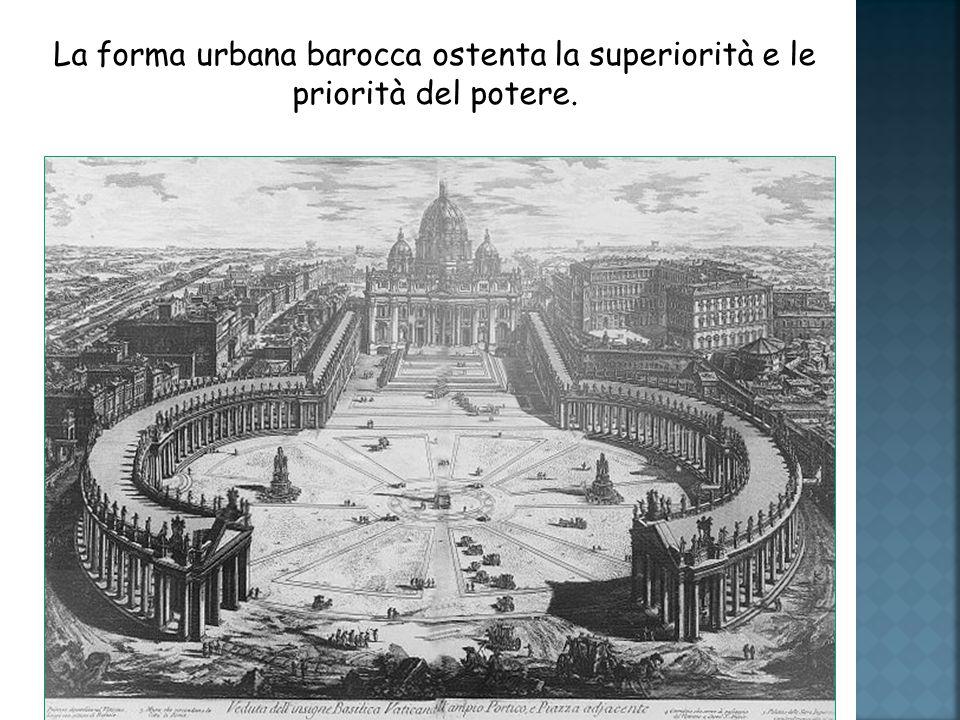 La forma urbana barocca ostenta la superiorità e le priorità del potere.