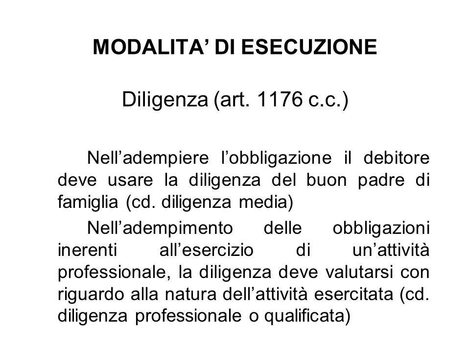 MODALITA DI ESECUZIONE Diligenza (art. 1176 c.c.) Nelladempiere lobbligazione il debitore deve usare la diligenza del buon padre di famiglia (cd. dili